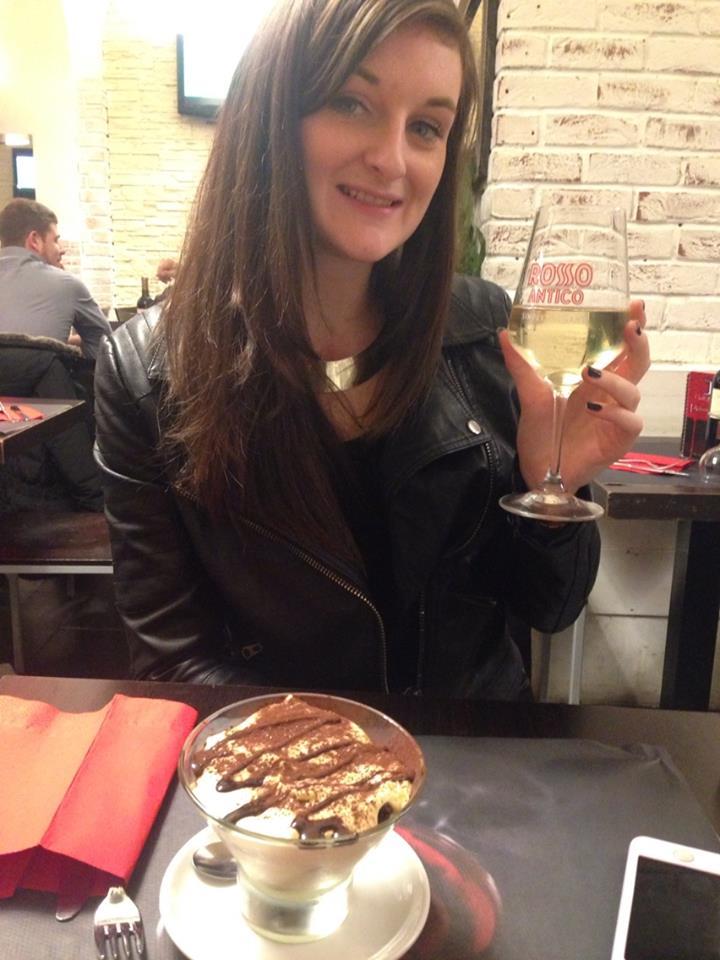Steph enjoying her tiramisu, Twins Bar - Termini