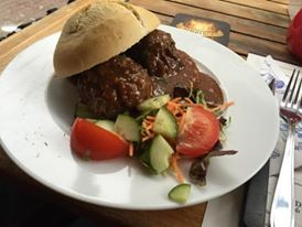 One of Amsterdam's national dishes - meatball with peanut sauce