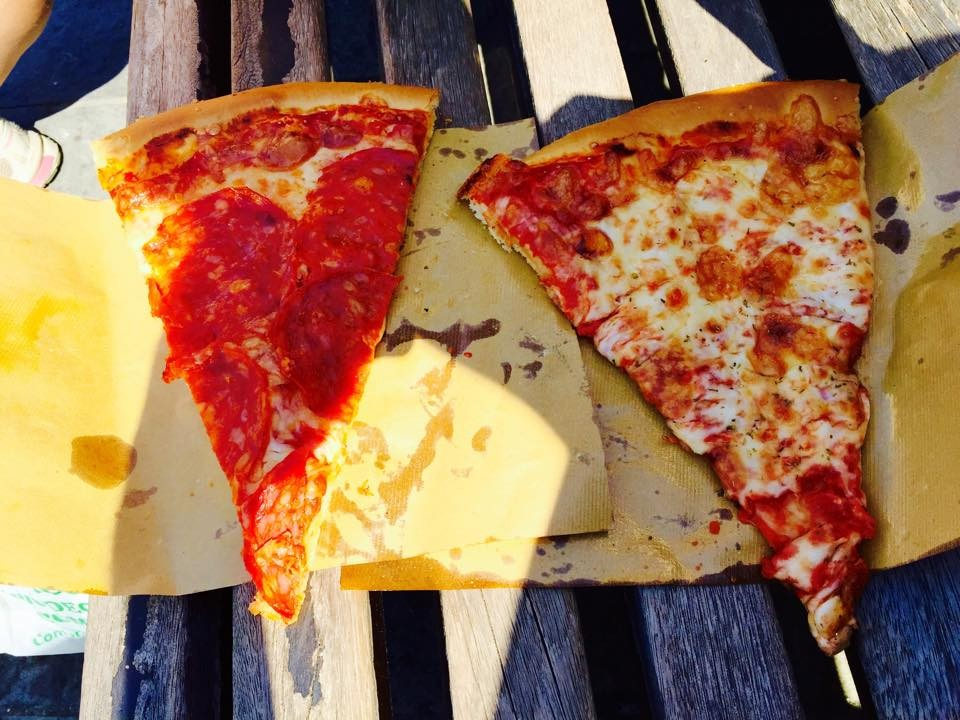Our very American looking pizza by the slice...