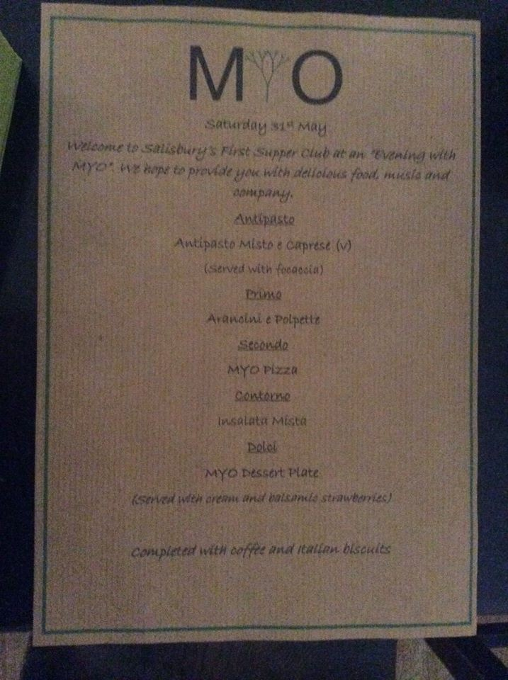 The Menu (apologies about the blur!)