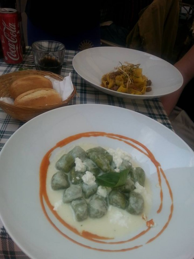 One of our favourite meals - basil and spinach gnocchi with a buffalo mozarella fondue